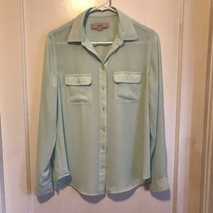 Pale aqua LOFT long-sleeve blouse